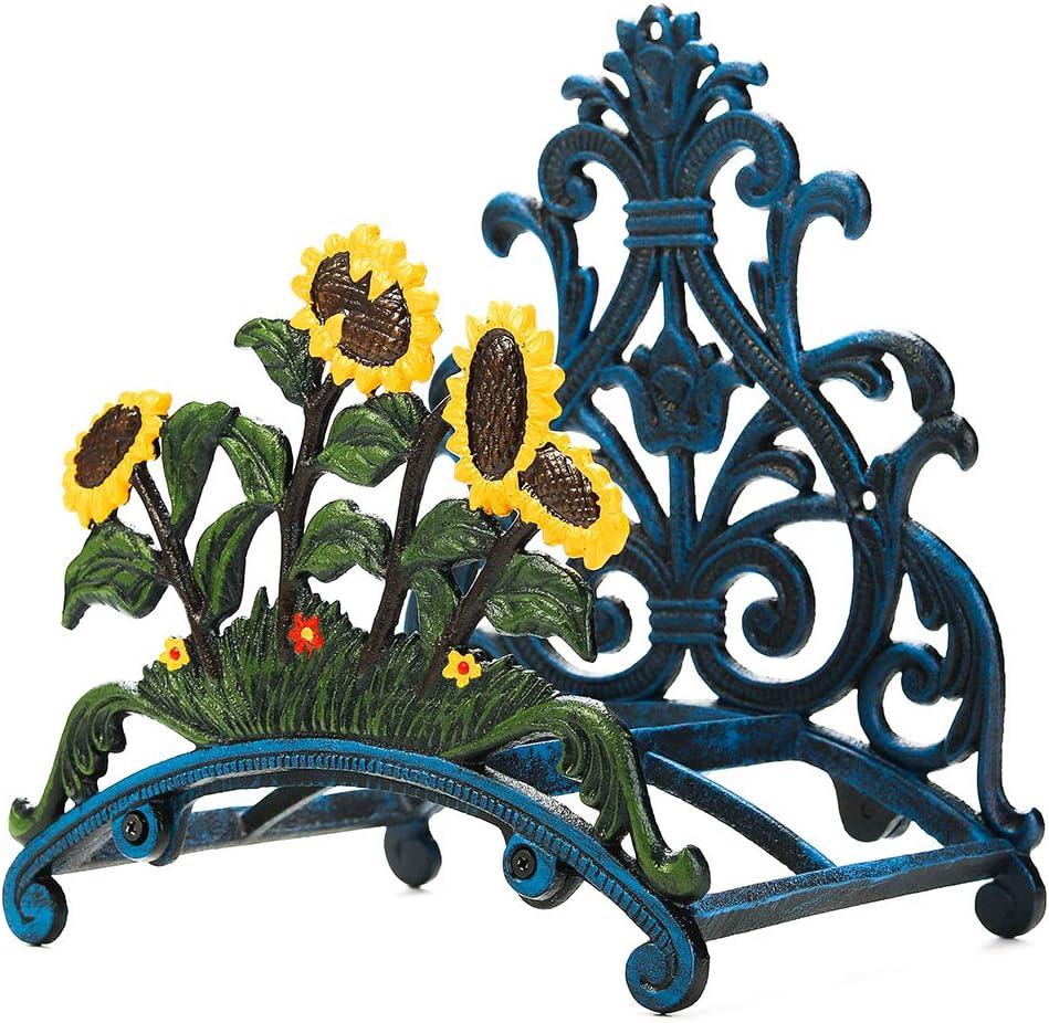Sungmor - Soporte para manguera de jardín de hierro fundido resistente pintado a mano para colgar en la pared, soporte de manguera de metal para colgar en la pared, Forma C girasol