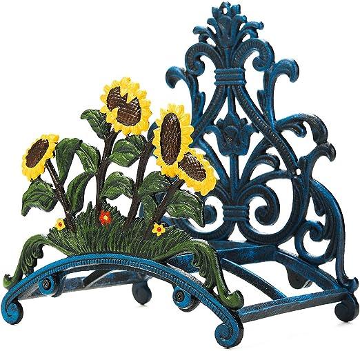 Sungmor - Soporte para manguera de jardín de hierro fundido resistente pintado a mano para colgar en la pared, soporte de manguera de metal para colgar en la pared, Forma C girasol: