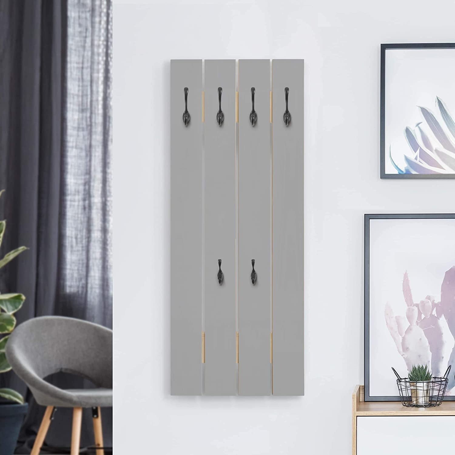 Bilderwelten Perchero de Madera Color Cool Gris - Ganchos Negros 100x40 cm: Amazon.es: Hogar