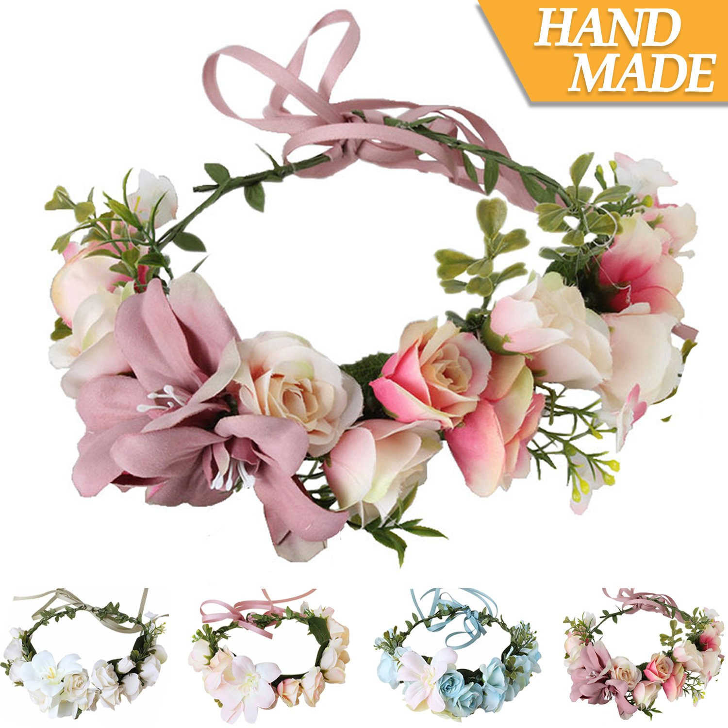 Amazon Handmade Boho Flower Headband Hair Wreath Halo Floral