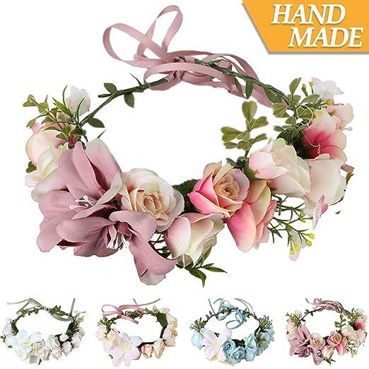 Amazon Handmade Adjustable Flower Wreath Headband Halo Floral
