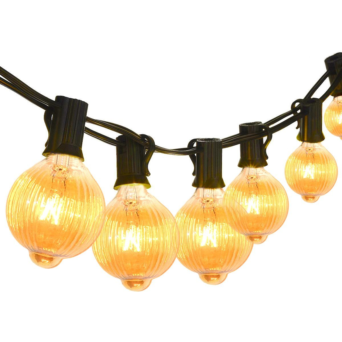 Classyke 25ft G40 Pumpkin Indoor Outdoor String Lights for Patio Garden Yard Deck Cafe Dimmable Weatherproof Commercial Grade [UL Listed]