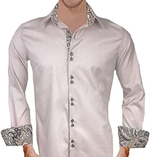 product image for Tan with Brown Paisley Designer Dress Shirts - Made in USA