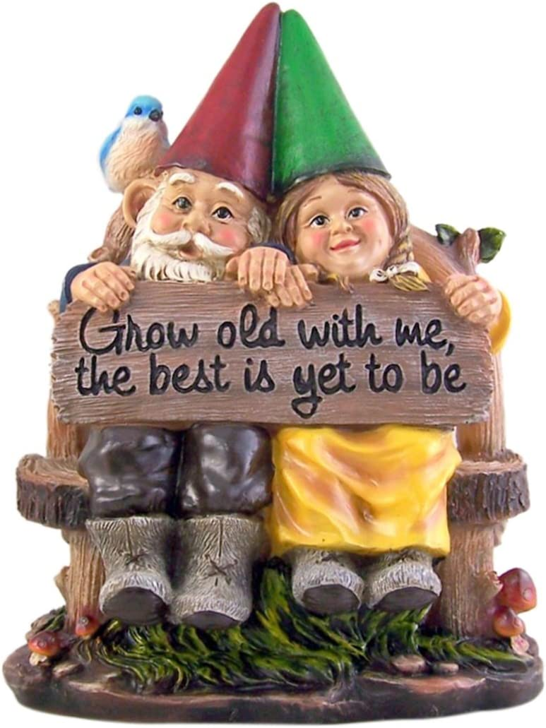 Sitting Gnome Couple Garden Statue 11 1/2 Inch