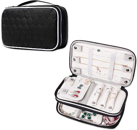 Luxja Organizador de joyeros Bolsa para joyerías Estuche para Guardar Anillos, Pendientes, Collares, Negro: Amazon.es: Hogar