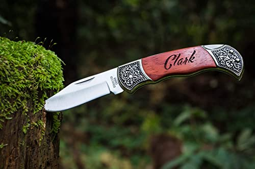 Custom Pocket Knives- Engraved Groomsmen Groomsman Personalized Knife Husband Hunting Man Mens Boyfriend Wedding Folding Blade Rustic Knifes Locks When Open