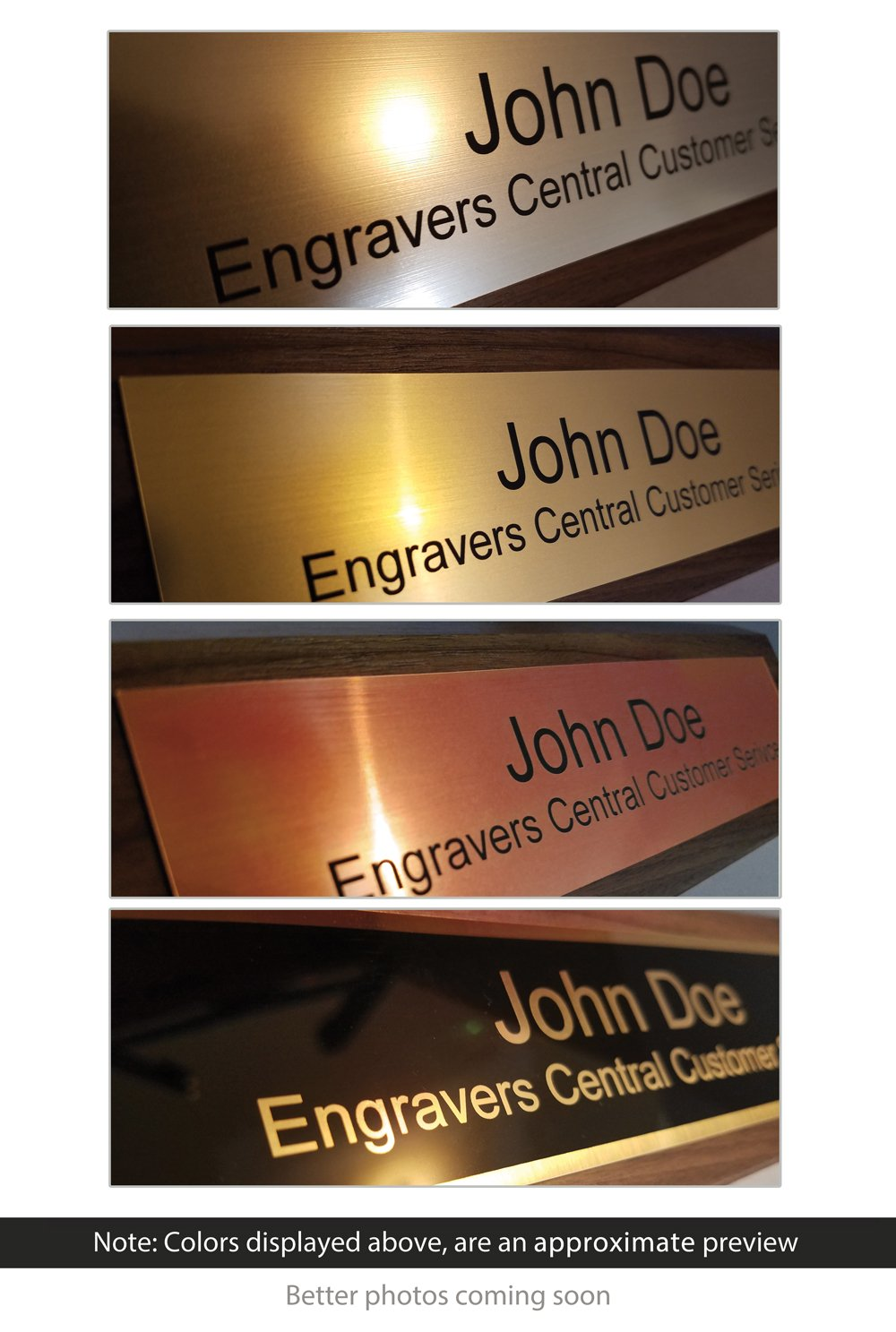 Personalized Wooden Executive Business Office Desk Name Plate - Genuine Walnut - CUSTOMIZE - (2x8'')