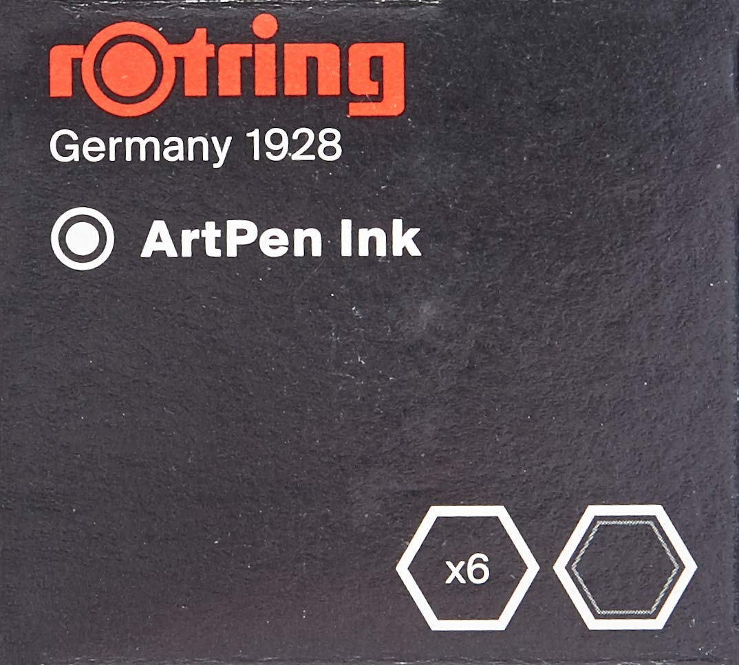 rOtring Fountain Pen, ArtPen, Replacement Ink Cartridges, 6-pack - S0194751,Black