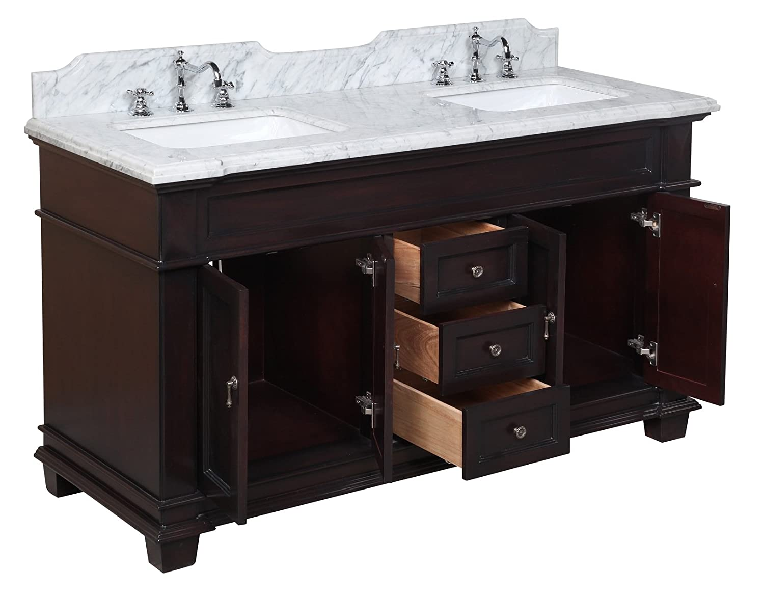 kitchen bath collection elizabeth double sink bathroom vanity with marble countertop cabinet with soft close function and undermount ceramic