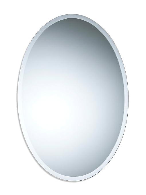 Bellissimo specchio da bagno ovale, moderno ed elegante, angoli ...