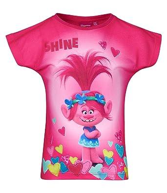 f2de8ff56 DreamWorks Trolls Girls 100% Cotton Short Sleeve Top, T-Shirt Tees 4-10  Years - New 2018 (Pink, 10yrs): Amazon.co.uk: Clothing