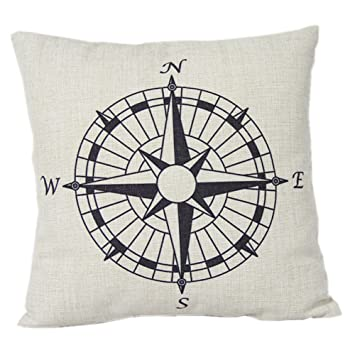 Maltonyo17 Nautisches Kissen Kompass Baumwolle Leinen Kissenbezug Deko Wohnzimmer