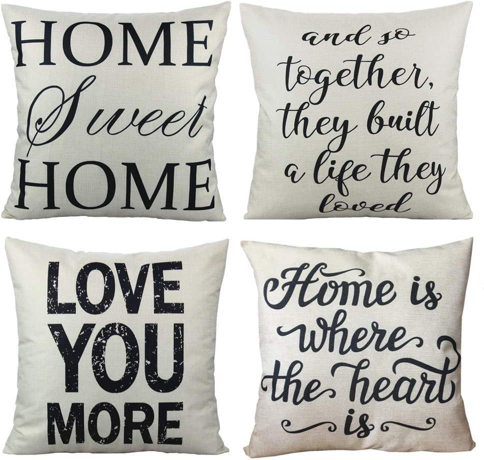 VAKADO Home Sweet Home Decorative Quote Throw Pillow Covers Cases Rustic Family Words Country Decor 18x18 Set of 4 Cushion for Couch Sofa,Love You More
