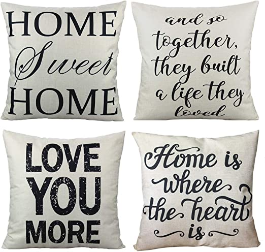 Home Sweet Home Decorative Quote Throw Pillow Covers Cases Rustic Family Words Country Decor 18x18 Set Of 4 Cushion For Couch Sofa Love You More Amazon Ca Home Kitchen