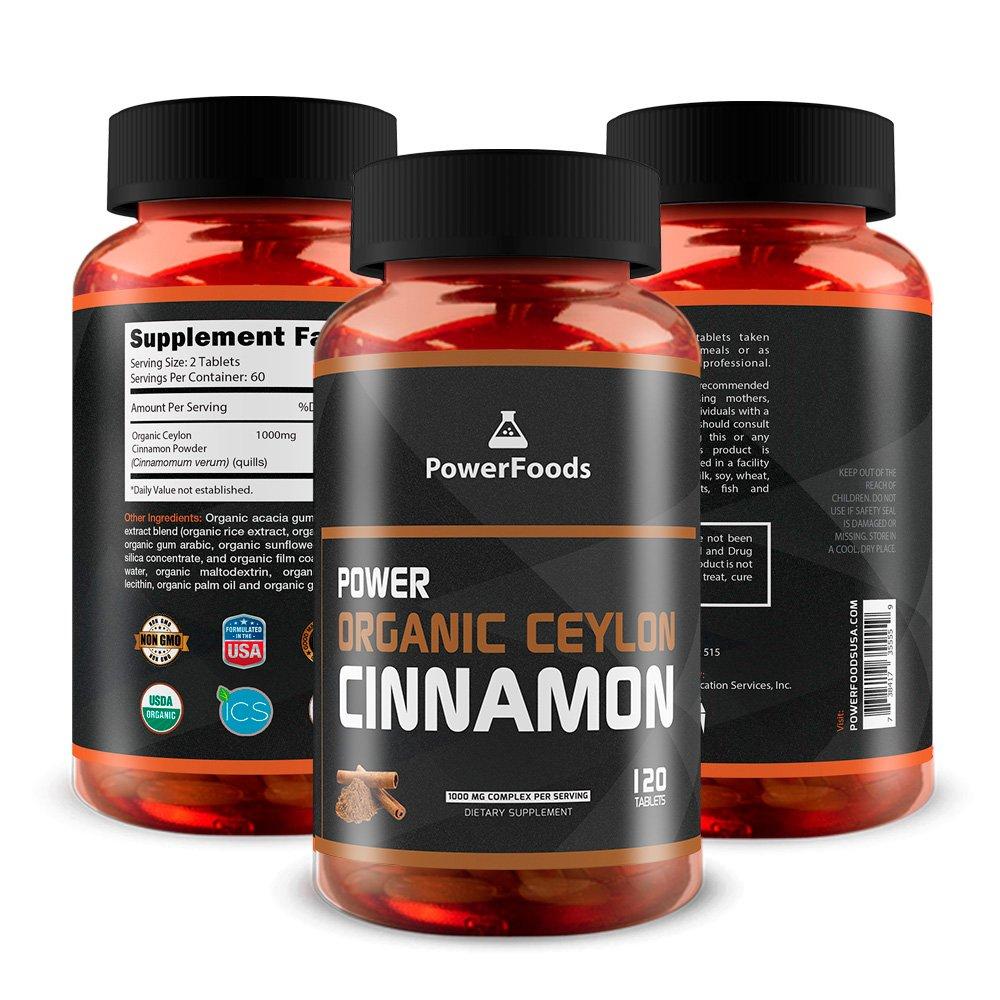 Pure Cinnamomum Verum Quills ★ Power Organic Ceylon Cinnamon Powder x120 Tablets (Easy to Swallow) ★ 1000mg Complex - PowerFoods ★ Certified USDA Organic Product by ICS ★ Health Benefits