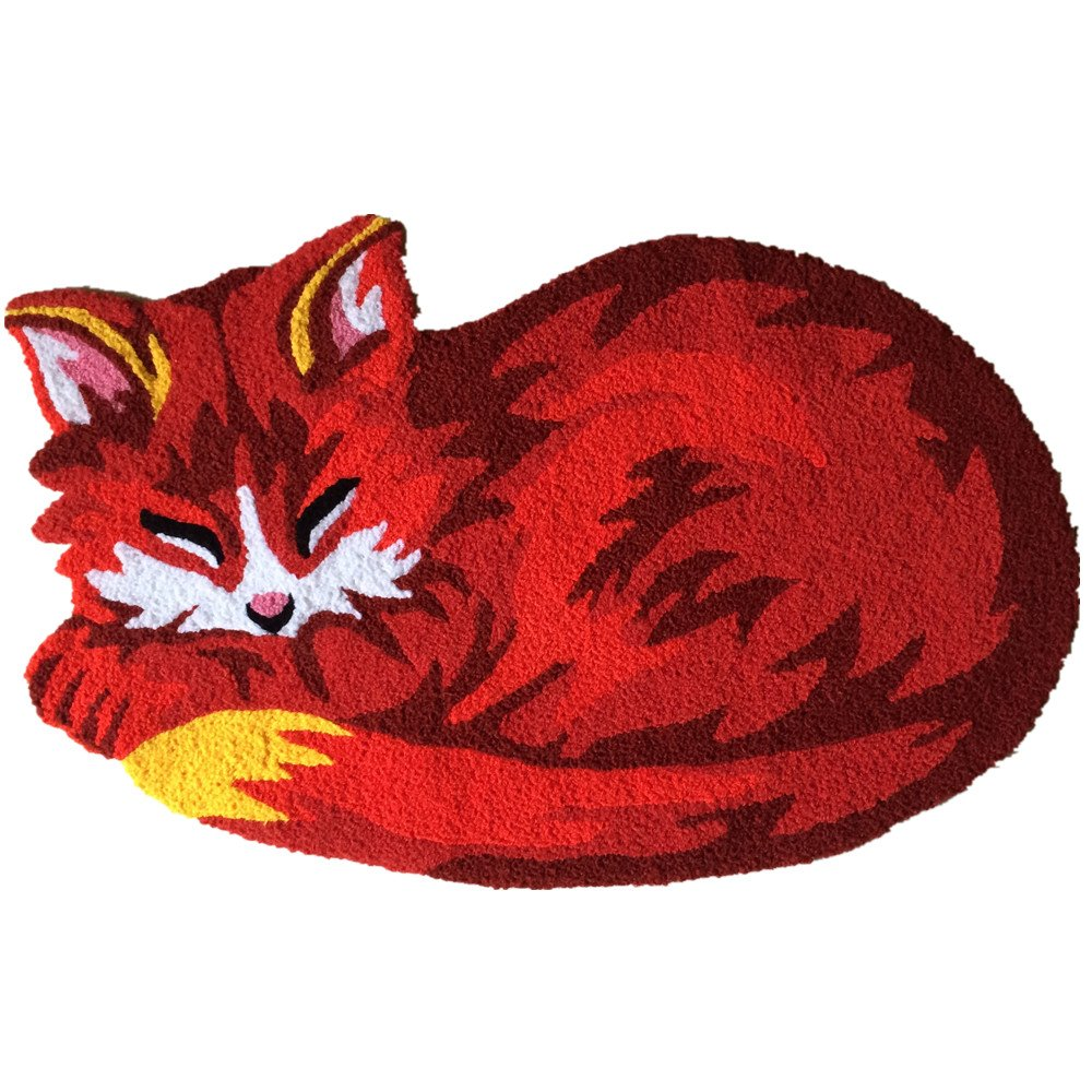 USTIDE Red Sleeping Fox Shaped Area Rug Animal Bed Rug Nonslip Doormat,Washable 20 by31.5 inch