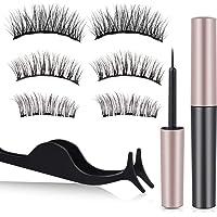 Magnetic Eyelashes and Eyeliner Kit, Furnishop Magnetic Eyeliner with 3 Size Magnetic Eyelashes Kit Sweat-proof Reusable No Glue False Eyelashes