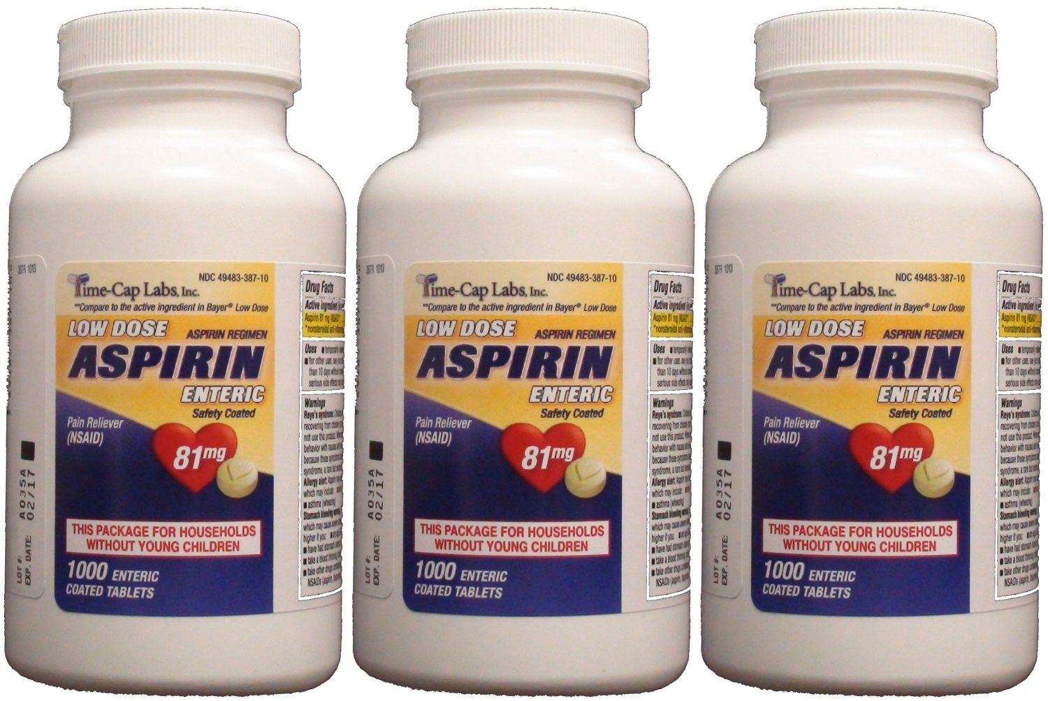 Aspirin Adult Low Dose Enteric Coated 81 mg Generic for Bayer Aspirin Low Dose 1000 Tablets Per Bottle Pack of 3 by Time Cap Labs