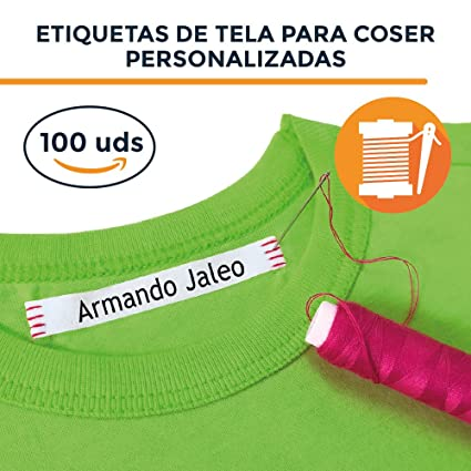 100 etiquetas para coser a la ropa. Etiquetas personalizadas de tela 100% ALGODÓN.