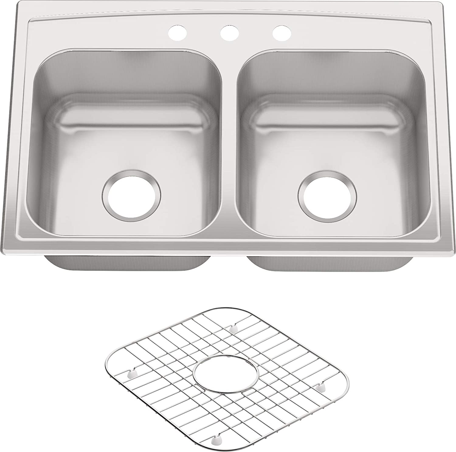 KOHLER K-3847-3-NA Toccata Top-Mount Double-Equal Bowl Kitchen Sink with 3 Faucet Holes, Stainless Steel