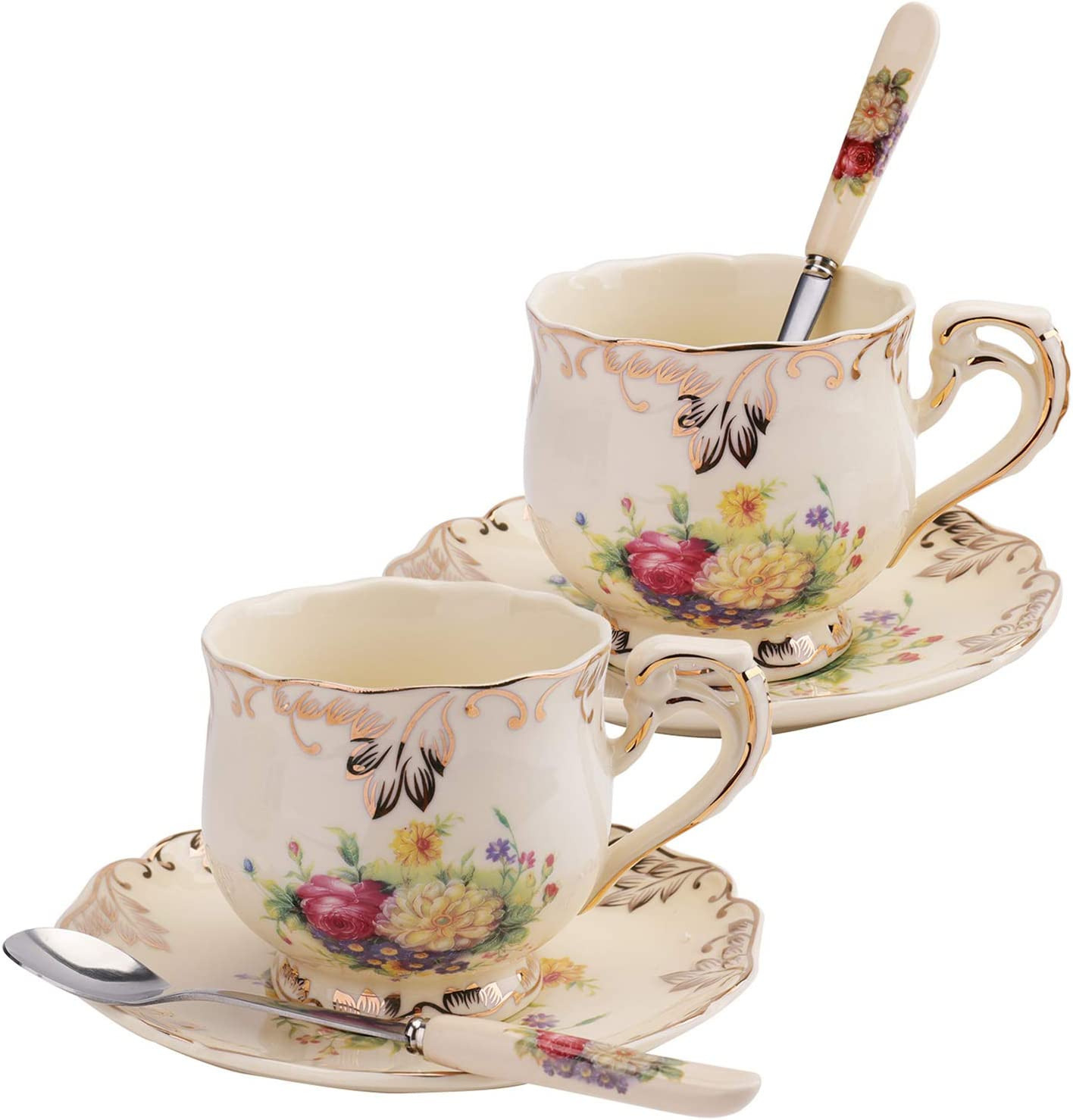 Foraineam Set of 2 Tea Cup and Saucer, 8 oz. Flowering Shrubs Ivory Ceramic Coffee Cup Fancy Floral Porcelain Tea Cup Set with Saucer and Spoon