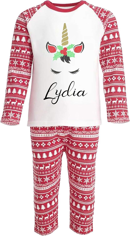 SMALL FACE WORLD Pijama de Unicornio con Purpurina Personalizable Family Matching, Caja Personalizada para niños pequeños