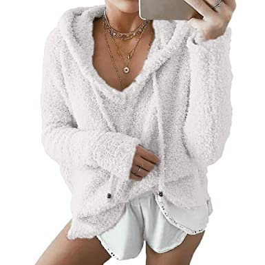 4c9a55d4f0ad73 Women Hoodies, L'ananas Long Sleeve V-Neck Comfy Faux Mohair Pullover Fluffy  Loose Sweater Beige Tops Blouse Sweatshirts: Amazon.co.uk: Clothing