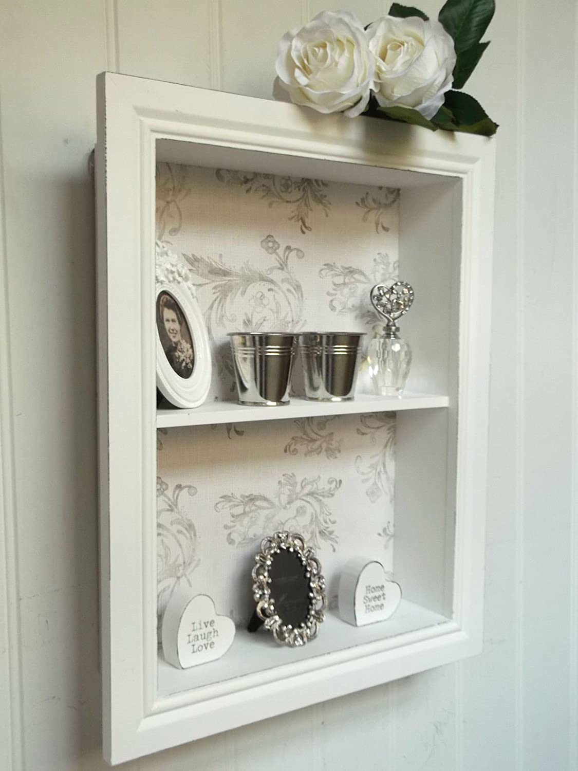 Antique white french country style carved wall shelf display unit shabby chic wall unit shelf storage cupboard display cabinet french vintage new amipublicfo Image collections