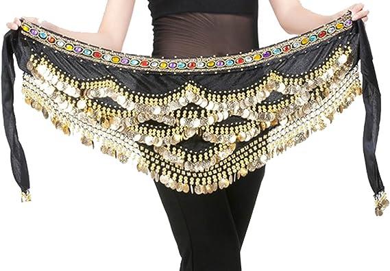 Fashion Golden Coin Belly Dance Hip Scarf Wrap Belts Dancer Skirt Costume Belt