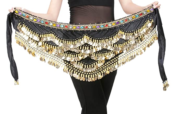 62ac4085c Amazon.com: 328 Coins Women Belly Dance Dancing Hip Scarf Wrap Black ...
