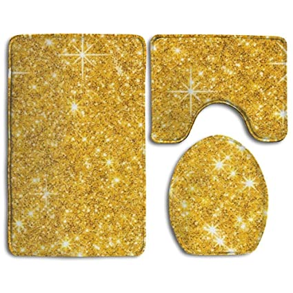 Gold Bathroom Rug Sets.Bath Mat 3 Piece Bathroom Rug Set Gold Glitter Skidproof