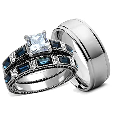 Amazon Com Bellux Style His And Hers Wedding Ring Sets Women S