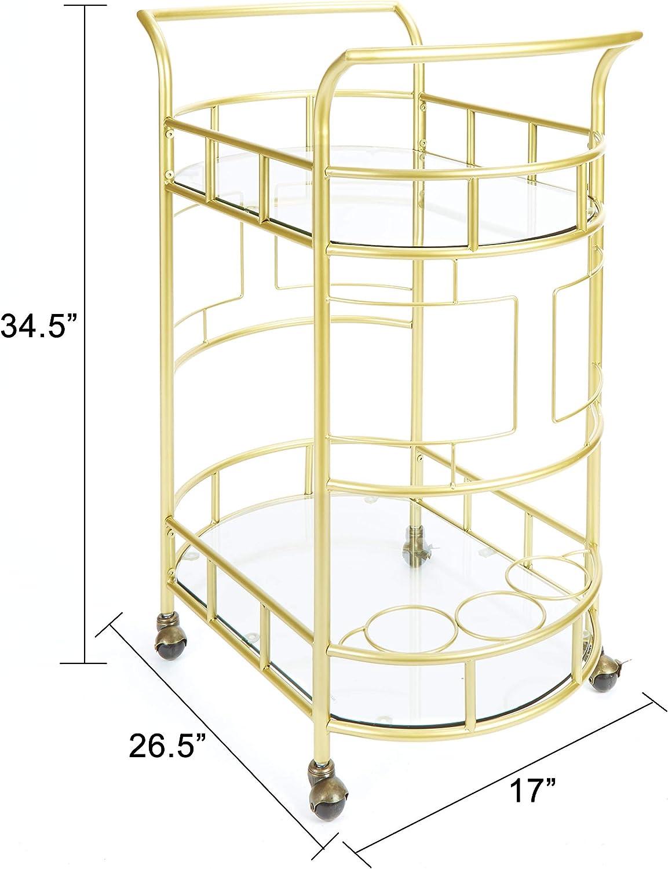 Hammered Bronze Silverwood FS1133C-COM Sinclair 2-Tier Serving Cart 2 17 L x 26.5 W x 34.5 H