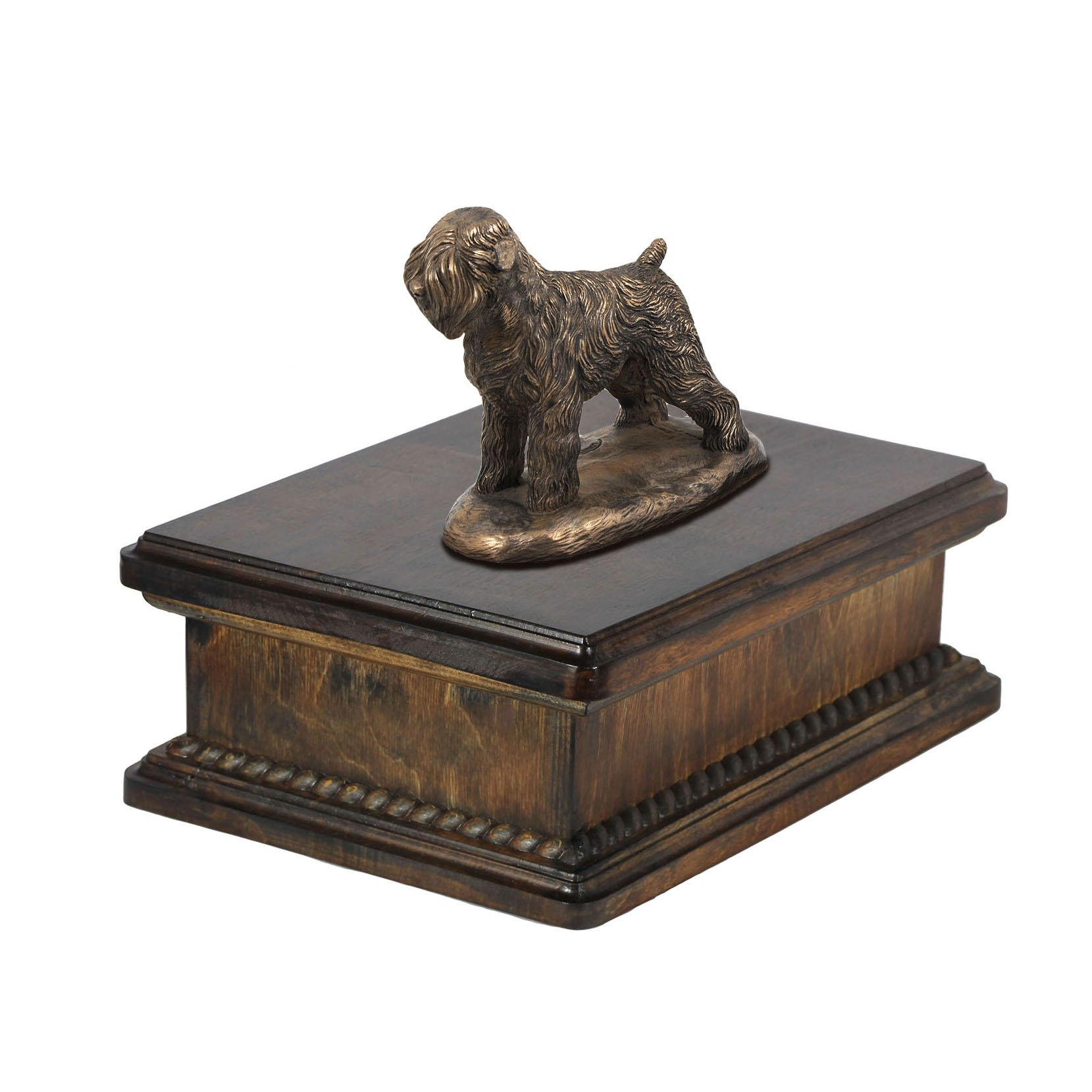 Black Russian Terrier, memorial, urn for dog's ashes, with dog statue, exclusive, ArtDog