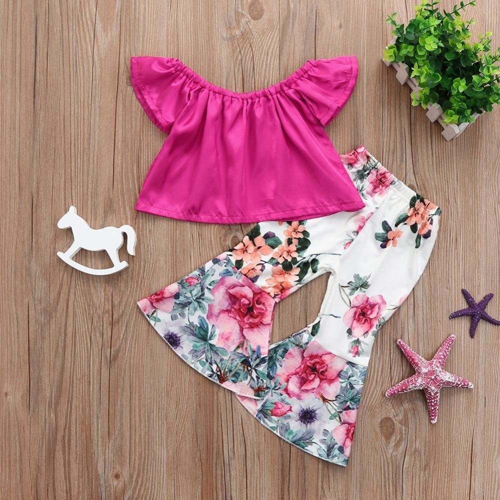 Iuhan Newborn Girls Clothes,2Pcs Girls Off Shoulder Tops+Floral Bellbottoms Pants Set
