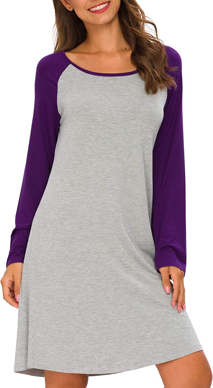 TIKTIK Sleepwear Womens Vintage Nightgowns Long Sleeve Scoopneck Sleep Tee Nightshirts S-4XL