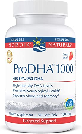 Nordic Naturals ProDHA 1000, Strawberry - 90 Soft Gels - 1660 mg Omega-3 - High-Intensity DHA Formula for Neurological Health, Mood & Memory - Non-GMO - 45 Servings