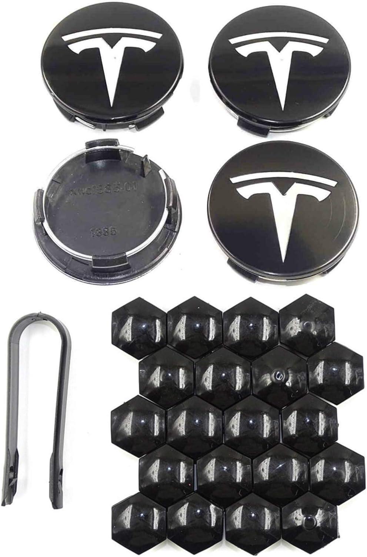 DESLE Tesla Model 3 Tesla Model S Tesla Model X Black with Silver Logo Tesla Model Y,Aero 4 Wheel Cap Kit and 20 Wheel Lug Nut Cover Tesla Model 3 Accessories
