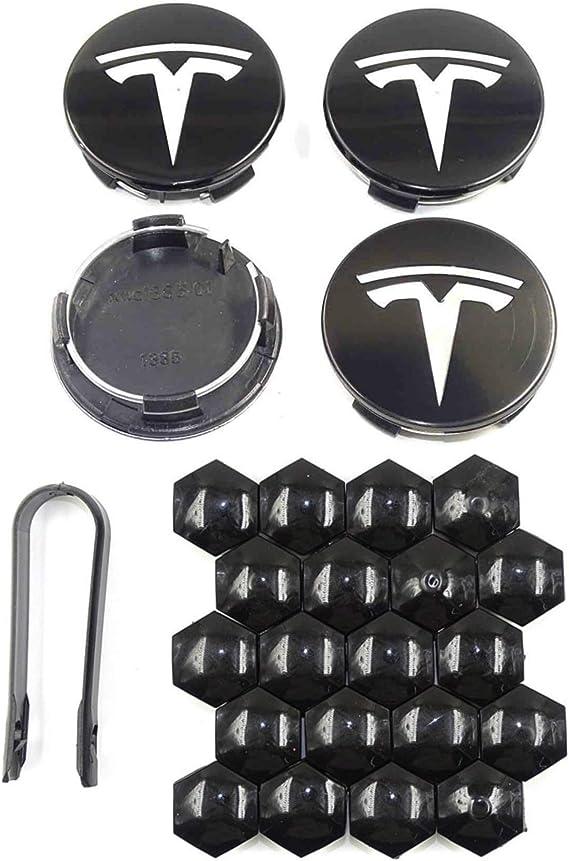 Tesla Model S Black with Silver Logo Tesla Model Y,Aero 4 Wheel Cap Kit and 20 Wheel Lug Nut Cover Tesla Model 3 Accessories Tesla Model X DESLE Tesla Model 3