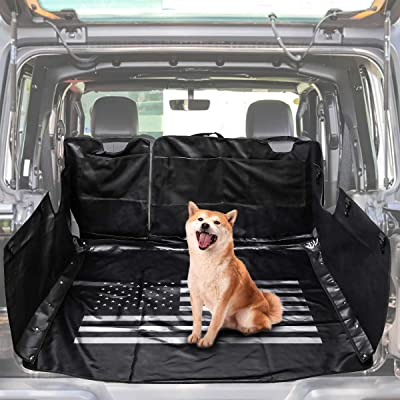LE-JX Black-US Flag Hammock Style Dog Car Seat Cover Compatible with 2007-2020 Jeep Wrangler JK JKU 4-Door, Pet Trunk Liner Mat Cover,Multipurpose Storage Case Cargo Cover (Non-Slip/Waterproof): Automotive