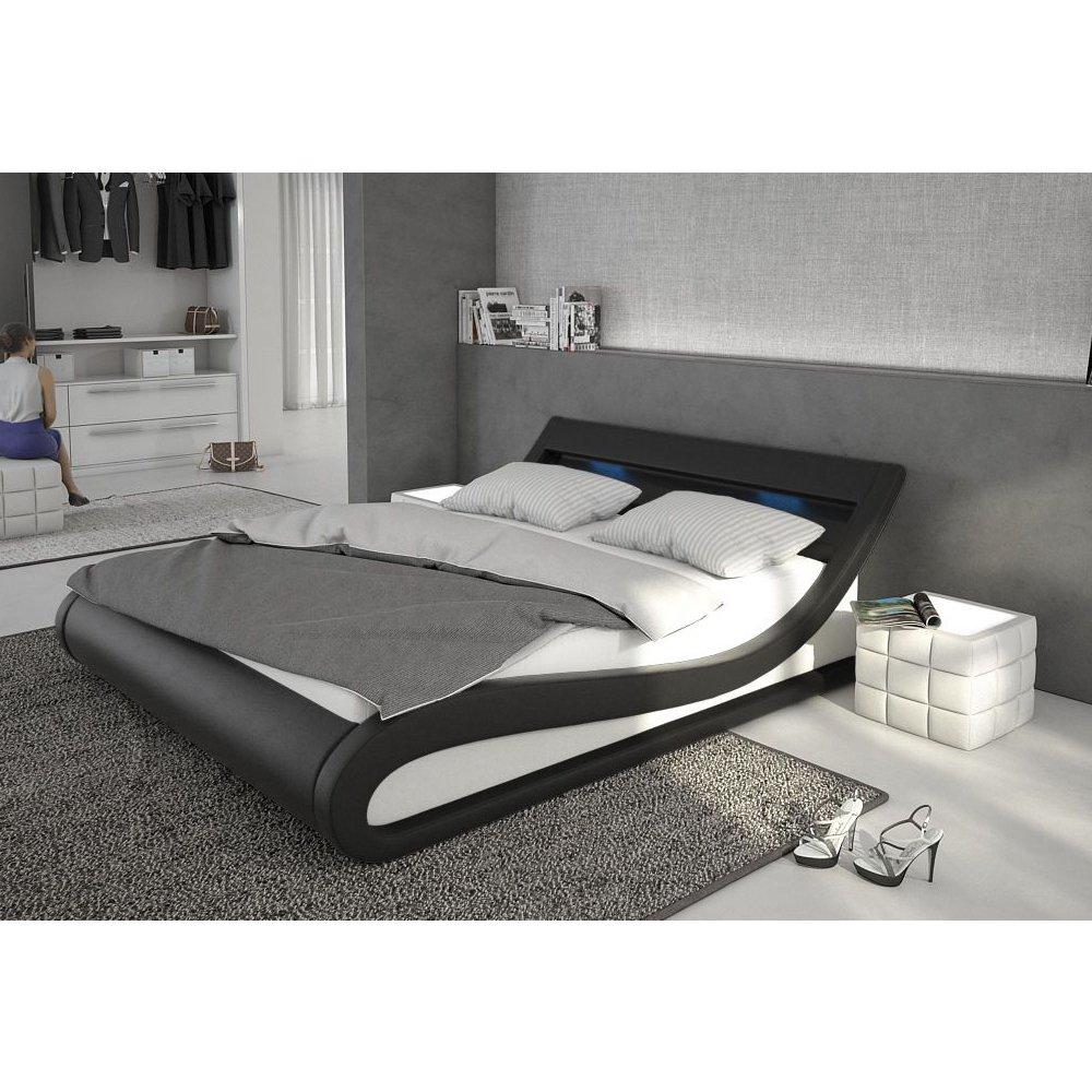 Polster-Bett 180x200 cm schwarz-weiß aus Kunstleder mit LED ...