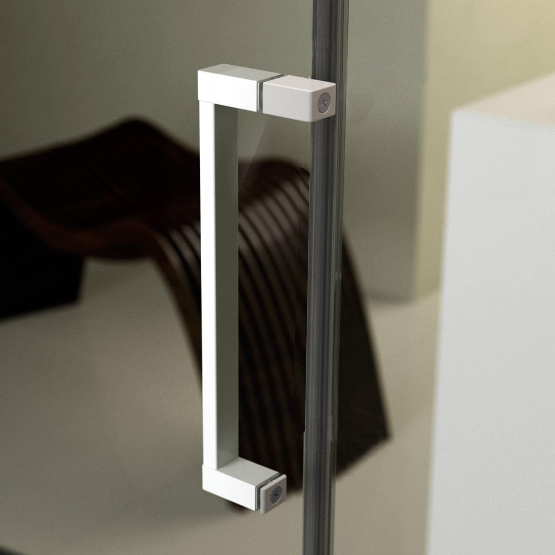 F/&T Cabine Douche en PVC 70x100 CM H190 Opaque Chinchilla Mod Glax Profil Blanc