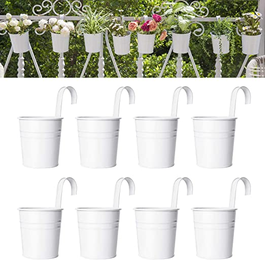 Amazon Com Dahey 8 Pcs Hanging Flower Pots Metal Iron Bucket Planter For Railing Fence Balcony Garden Home Decoration Flower Holders With Detachable Hooks White 4 Inches Kitchen Dining