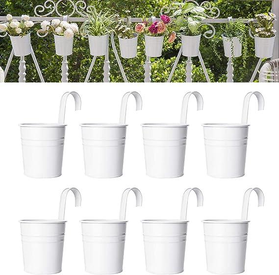 1X Metal Flower Pots Wall Hanging Tin Baskets Bucket Plant Herb Plan 0cn