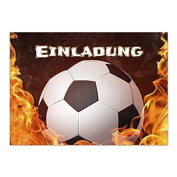 15 X Einladungskarten Fussball Brennt Flammen Im Postkarten Format