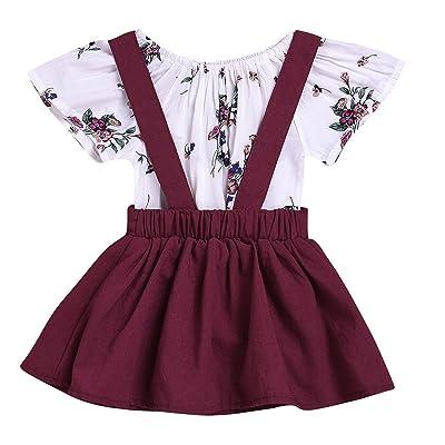 2pcs Baby Girl Floral Short Sleeve Romper + Wine Red Suspender Dress