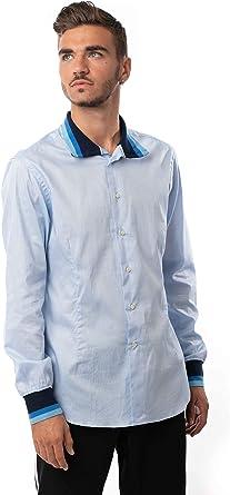 Morgan Visioli Fashion Camisa Hombre Azul Claro: Amazon.es: Ropa y accesorios