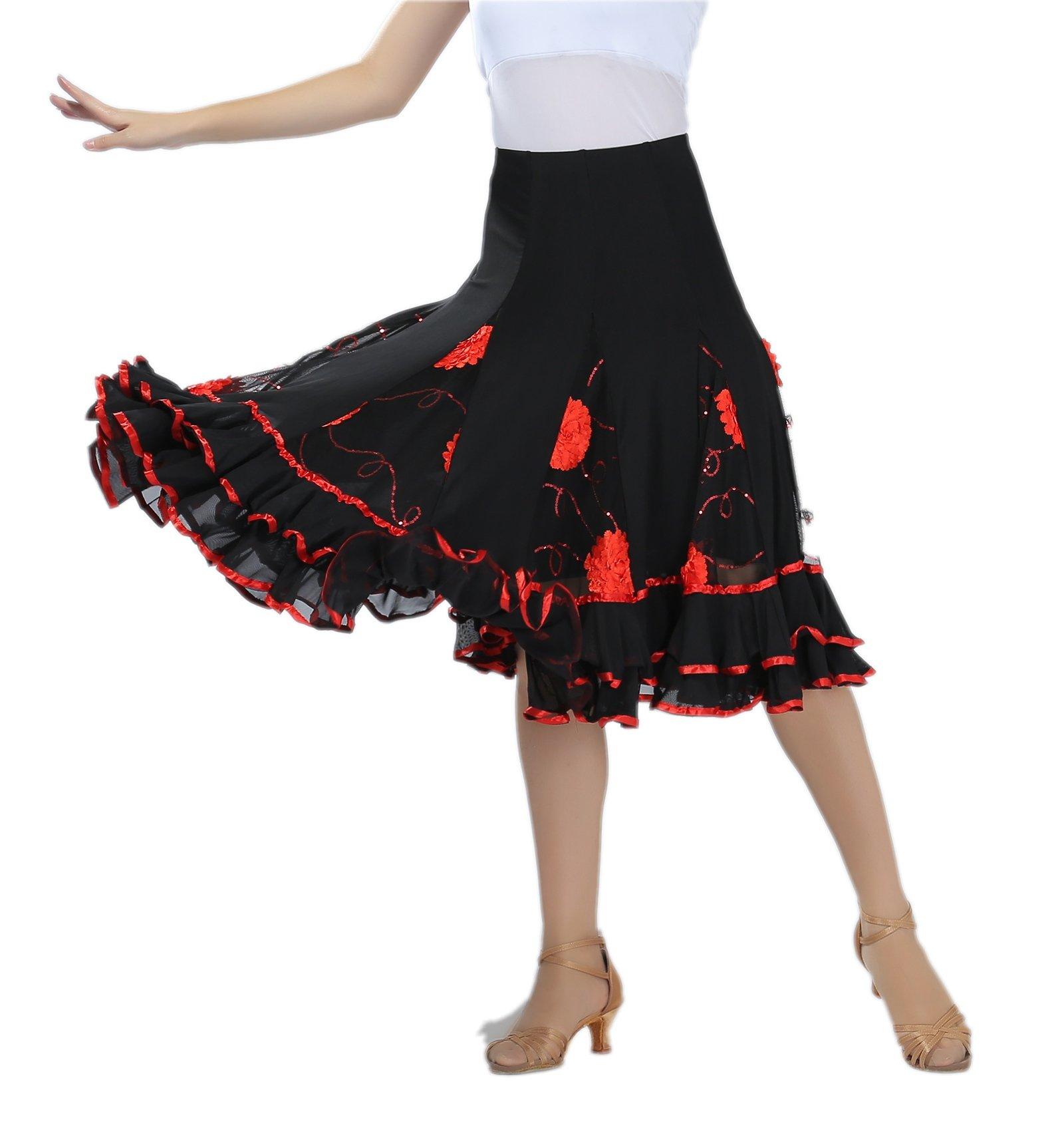 CISMARK Women's Elegant Ballroom Dancing Latin Dance Salsa Tango Swing Skirt red One Size by CISMARK