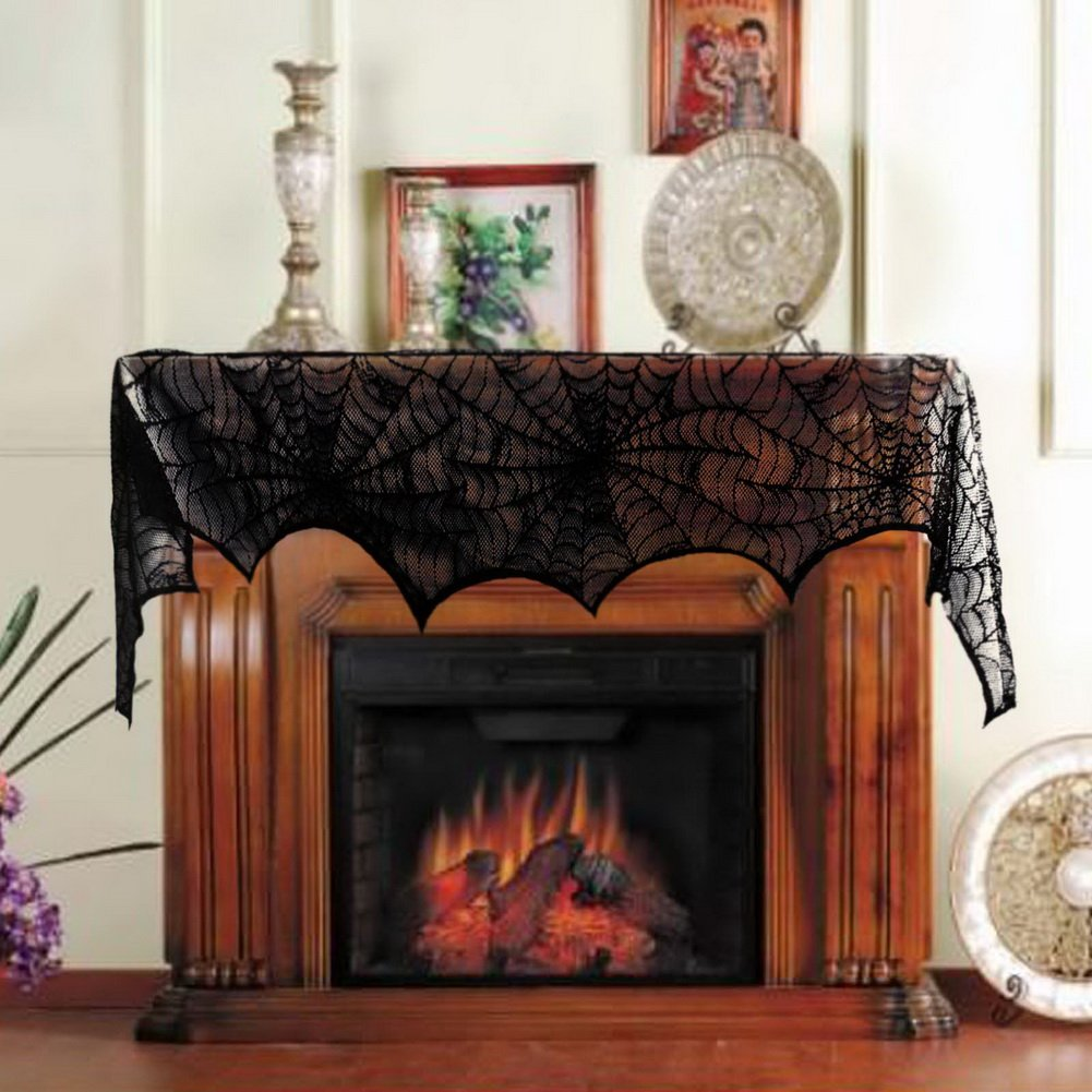 amazoncom aerwo halloween decoration black lace spiderweb fireplace mantle scarf cover festive party supplies 45 x 243cm 18 x 96 inch home kitchen - Halloween Fireplace