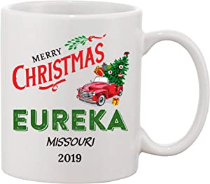 2019 Merry Christmas Mug Eureka Missouri State - Bringing Home The Tree, Vintage Red Truck With Christmas Tree - Funny Christmas Coffee Mug 11 Oz Gifts For Home, Family